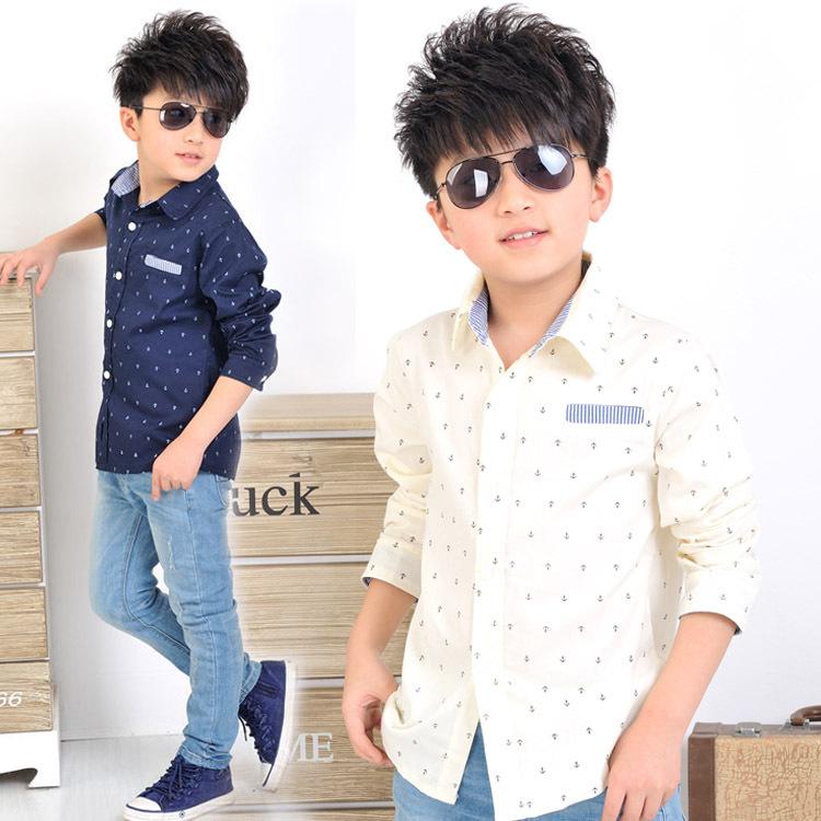 2015 NEW boys autumn long sleeve shirts dot print children casual dress shirts beige & navy colors boy formal clothing, C237(China (Mainland))