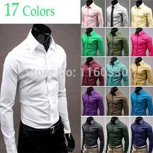 Gratis las camisas de vestir de buques nuevos de la llegada hombres calientes fresca camisa Slim Fit caramelo con estilo simple 17 colores del tamaño M- XXXL(China (Mainland))