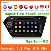 Android 4.2 Car dvd automotivo styling for Kia k2 RIO 2010 2011 2012 gps navi 3g WiFi Capacitive Screen radio RDS bluetooth