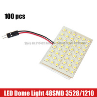 Free Shipping 100pcs Car LED 48 SMD 1210/3528 LED T10 Ba9s Festoon dome Car interior Dome Door LED Panel Light With 3 Adapters