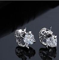 Fashion hollow out irregular Flower shiny High quality zircon Stud Earrings 2014 new B378