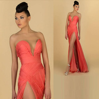 Hot Sale Long Orange Sexy Evening Dresses High Slit V-Neck Chiffon Prom Dresses Party Gown Sheath New Arrival Pleated 2015