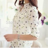 2014 New Summer Women long-sleeve bird Print Chiffon Shirts Fashion Slim Blouses Shirts for Women