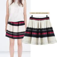 Novelty striped pleated mini skirts women 2014 new fall winter skater skirt girl vintage short skirts free shipping