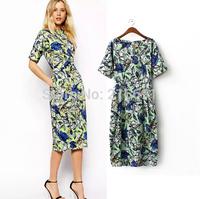 2014 New Fashion women elegant flower printed short sleeve long party dress Lady casual slim brand design evening dresses #E842