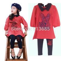 2 Pcs Kids Girls Fleeced Suit Outfit Cartoon Rabbit Outwear Children Custume