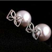 Fashion pearl flowers wedding crystal Stud Earrings Women jewelry B379