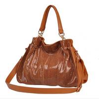 Classic socialite female zipper genuine leather serpentine luxury tote bag high quality sac a main women bolsas de marca festa 9