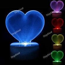 Color Changing Crystal Heart LED Night Light Lamp Desktop Xmas Light Lighting Romantic Decoration Display Christmas Gift Light(China (Mainland))