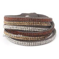 Austrian Crystal Stud Wrap Bracelet Microfiber SWA ELEMENTS 40cm Length Fashion Rhinestone Jewelry Handmade  BFWS