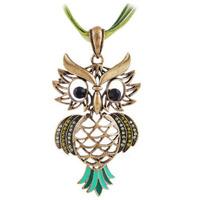 Hot Sale Retro Antique Bronze Plated Hollow Design Woman Owl Pendant Necklace 4Colors