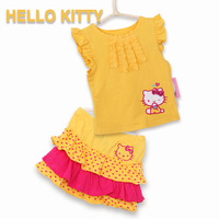 Hello kitty children's sets baby clothing set t shirt + skirt kids clothes sets roupas infantil meninas baby girls clothing sets