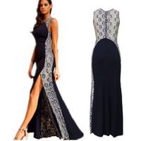 vestido de renda 2014 Navy Lace Side Sleeveless Maxi Dress With Fish Tail Detail mermaid Long evening dress formal party dresses