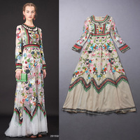 Free Shipping New Arrival  Spring 2015 Brand Design Charming Long Sleeve Mesh Embroidery Long Dress 140827XD02