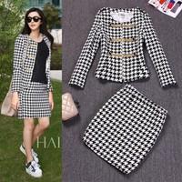 Free shipping fashion women ladies wool outerwear coats jacket top+skirt twin set women skirt suits blouse