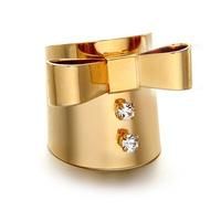 2014 Gifts new items Hot Vintage hollywood punk gold bowknot rhinestone gem ring female fashion designer brand sale jewelry