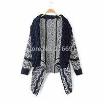 3 color 2014 new fashion women vintage geometric figure irregular sweater coat Lady winter fashion casual  Cardigans #E844