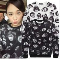2014 Women Hoody Fashion Portrait Printed Pullovers Long Sleeve Sweatshirts for Lady Hoody Loose Sweatshirts YS8591
