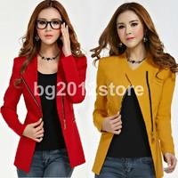 2014 New Fashion Women Long Sleeve Polo Neck Solid Slim Cotton Suit Jacket Womens Blazer Classic Zipper Coat Free Shipping