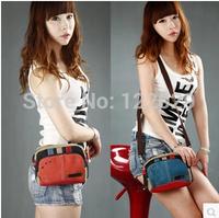 Women's waist packs 2014 Free shipping women's fresh canvas messenger bag  lady mini leisure waist packs