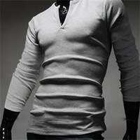 2014 Hot Sale Stylish V-neck Multi-Color Long Sleeve Men's T-shirt Men Designer Tee Tops