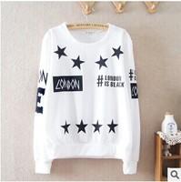 """ 2014 New autumn women hoodie fashion sleeves casual sweatshirt long-sleeve cotton T-shirt white top YS8594"""