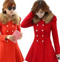 Fashion Ladies Casacos Femininos 2014 Elegant Long Sleeve Slim Woollen Coat Double Breasted Winter Women Coats