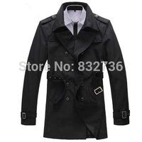 FREE SHIPPING new 2014 Korean Style  Fashion double breasted men long slim trench Coat Plus size M L XL XXL XXXL XXXL