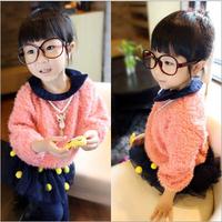 2014 autumn new female children's wear round neck princess candy colored plush fur fleece sweater coat jacket