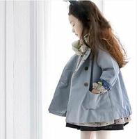 2014 autumn new Korean blue round neck princess doll for girls windbreaker jacket coat