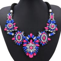 2014 New Fashion Jewelry Chunky Resin Flower Bib Necklaces & Pendants Statement Shourouk For Women