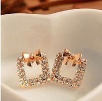 Fashion bowknot Women jewelry Stud Earringssquare B388