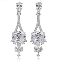 new design wedding earring fashion statement earring CZ crystal earring 18k white gold plated jewelry wholesale M423