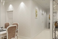 """10M  Thickening White Brick Wallpaper For Walls Rustic TV Background Wall paper Rolls  (0.53m(20.8"""")*10m(32.8')=5.3m2)"""