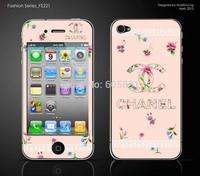 Pink flower woman brand cut Kawaii cartoon diy decoration Crystal skin sticker for iphone 4 4g iphone4
