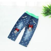 2014 autumn models cute cartoon boy pants girls jeans love Mickey