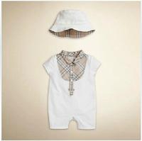 Retail 2014 infant  yes cotton Baby rompers plaid short sleeve bodysuits+Hat 2pcs set Newborn Turn-down Collar roupas de crianca