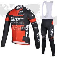 bmc 2014 Thermal Fleece Cycling Jersey bib kit long Sleeve bib pants Cycling thight ropa Ciclismo bike fitness clothes bicicleta