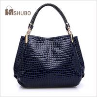 SHUBO Brand Design 2014 Fashion Vintage CROCO Genuine Leather Bags Totes 3Colors Shoulder Bag Cowhide Messenger Handbags SH009