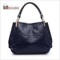 SHUBO Brand Design 2014 Fashion Vintage CROCO Genuine Leather Bags Totes 3Colors Shoulder Bag Cowhide Messenger Handbags SH009
