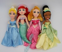 Princesses Dolls Cinderella Princess Ariel Little Mermaid Tiana Sleeping Beauty Plush Dolls 36cm Toys for Girls