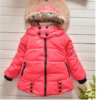 Winter dress coat for girls outerwear, faux fur hats parka children's winter clothing sets, cotton padded long jackets