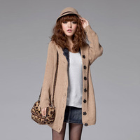 Plus Size cardigan fur & leather coat jacket cotton outerwear women fashion sweater Autumn Winter 2014 CHIC! W4376