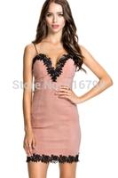 2014 Women Sexy  Rare Lace Trim Plunge Neck Bodycon Dress Free Shipping