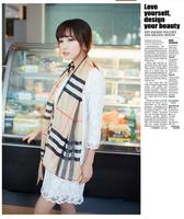 160cm*70cm Fashion Boho Woman Plaid Chiffon Silk Scarf winter Wrap shawl scarves For Christmas Gifts Free Shipping