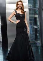 Free Shipping 2014 New Mermaid Sleeveless Silk chiffon Formal Prom Dress Formal Evening Gown Custom Made Size