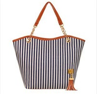 2014 han edition chain women's shoulder Tassel navy wind stripe canvas Female bag