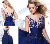 2014 New Elegant Royal Blue A-line Scoop Empire Floor-length Wedding Party Evening Dress