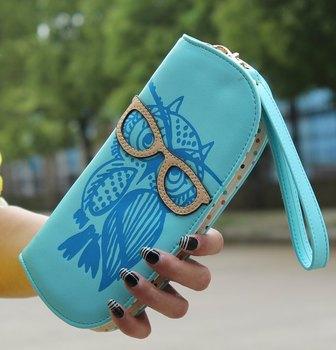 Новый старший кожа PU симпатичные очки сова напечатаны женщина бумажник филе молнии с длинным кошелек кошелек бесплатная доставка