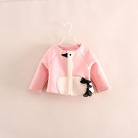 2014 autumn models girls coat girls sweater coat Korean kids cartoon swan